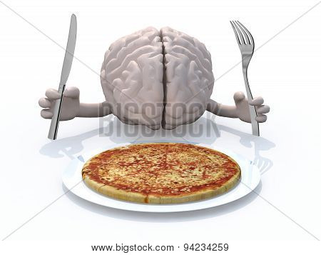 Human Brain With Hands, Fork And Knife In Front Of A Pizza Dish