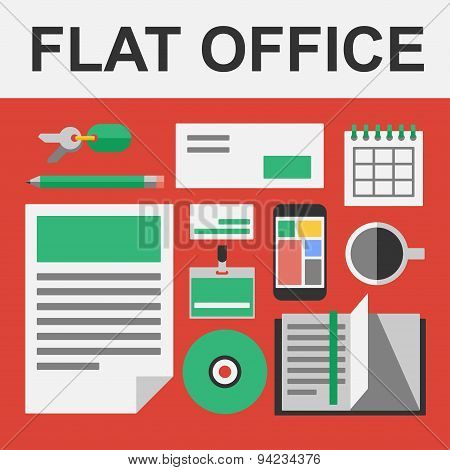 Vector flat office set