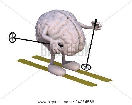 Human Brain With Arms And Legs, Ski And Stick