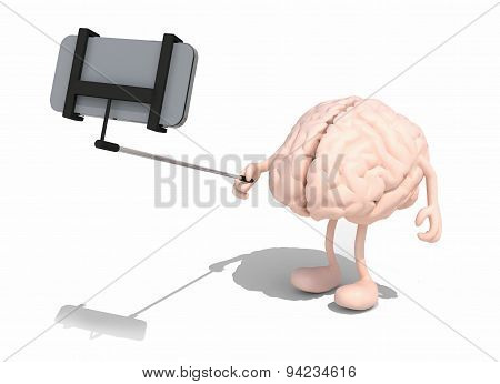 Human Brain With Arms And Legs Take A Self Portrait With Her Smart Phone