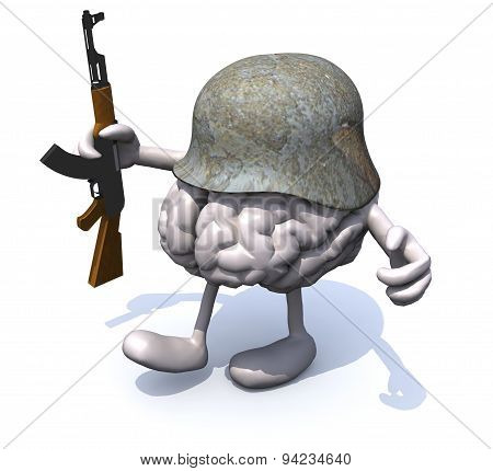 Human Brain With Arms And Legs, German Helmet And Rifle
