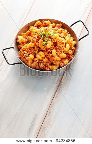 pasta with meat, tomato sauce and vegetables - food and drink