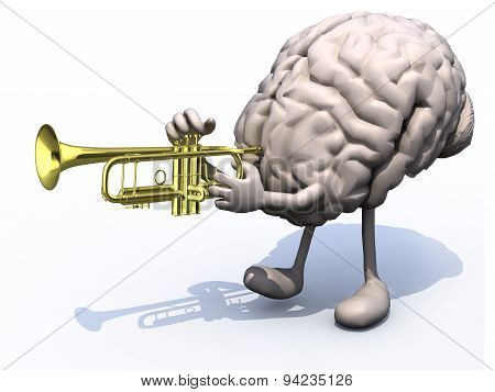 Human Brain With Arms, Legs Playng Trumpet