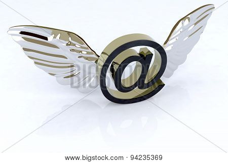 Email Symbol With Wings