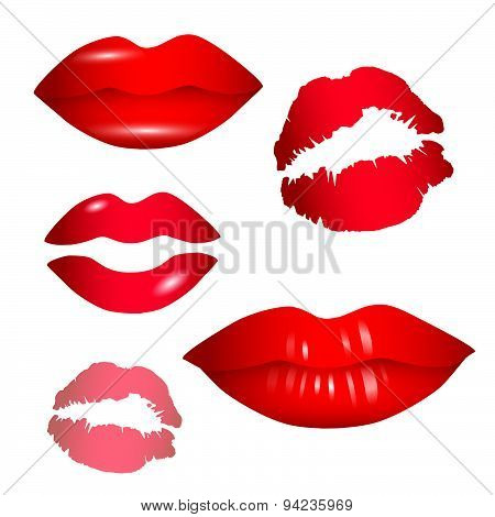 Female lips collection - vector
