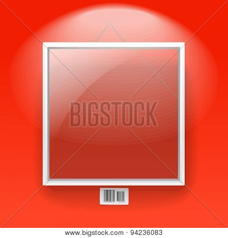 Glass board with white frame on a red wall with barcode sign. Raster version