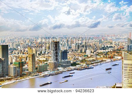 Panorama View On Skyscrapers, Waterfront , City Building Of Shanghai, China.