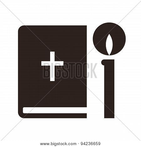 Bible And Candle Icon
