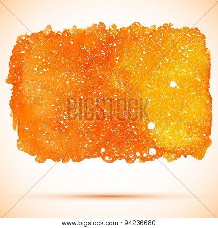 Vector Abstract Orange Watercolor Cosmic Bacnner With White Splashes And Shadow