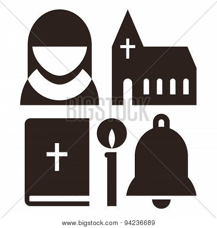 Nun, Church, Bible, Candle And Bell Icons