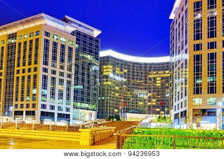 Beijing, China - May 18, 2015: Modern Office And Residential Buildings On The Streets Of Beijing, Tr