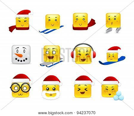 Christmas Square Anime Stickers