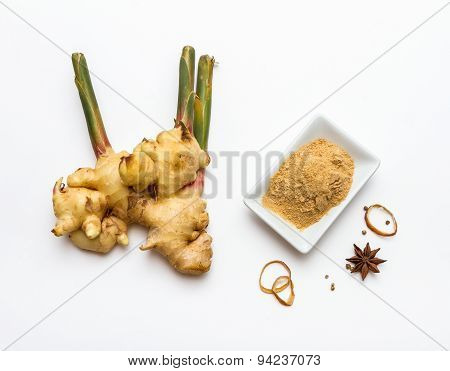 Ginger And Powder Spices And Herb On White Background.