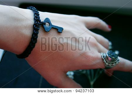 The black plaited bracelet