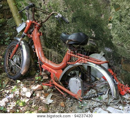 Old Moped Inoperative Abandoned
