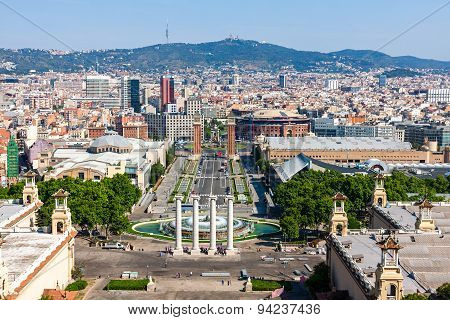 Aerial View Of Barcelona, Spain, From Montjuic Hill