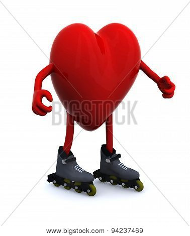 Heart With Arms, Legs And Rollerskates