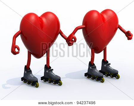 Two Hearts With Arms, Legs And Rollerskates
