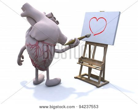 Human Heart With Arms And Legs Painter
