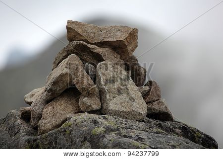 Stack Of Stones In The Mountains