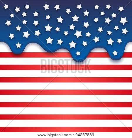 4Th July Independence Day Background. Patriotic Cake With Shining Stars. Vector Illustration