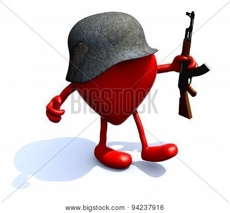 Heart With Arms, Legs, Helmet And Rifle