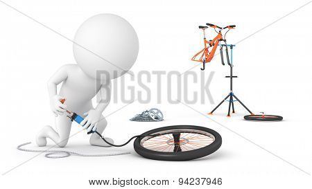 Cyclist inflates a tire