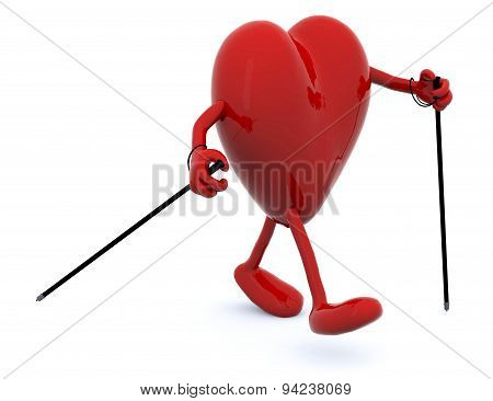 Heart With Arms, Legs And Sticks