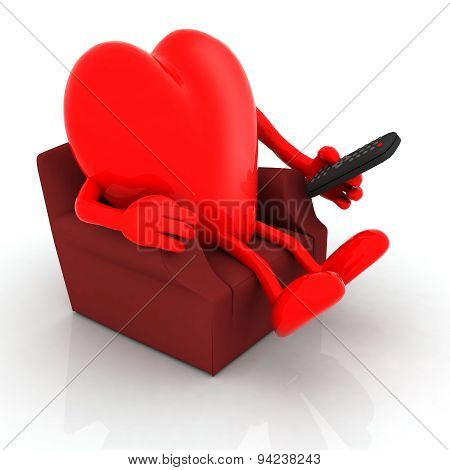 Red Heart Watching Television From The Couch With Remote Control