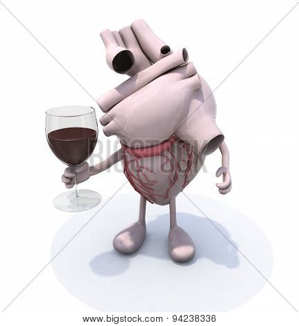 Human Heart And Glass Of Red Wine