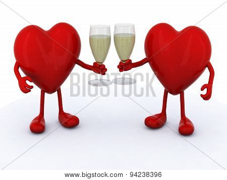 Two Hearts With Glass Of White Wine