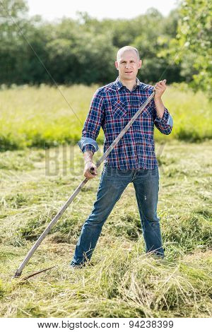 Man on  haymaking