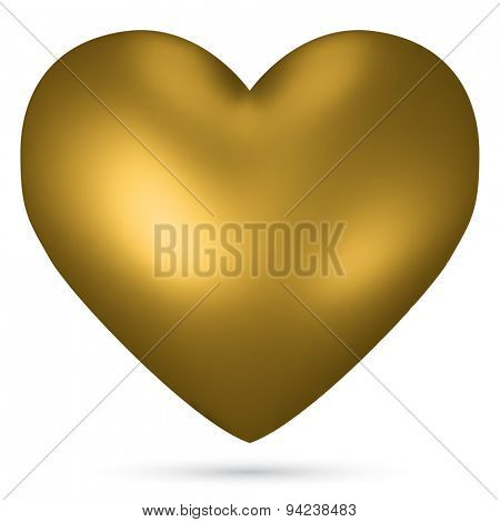 Golden heart vector shape isolated on white background.