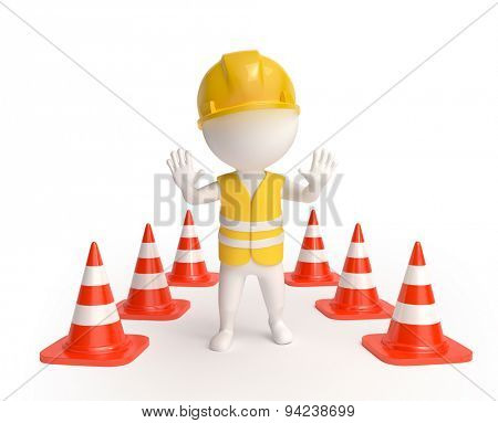 Worker with traffic-cones