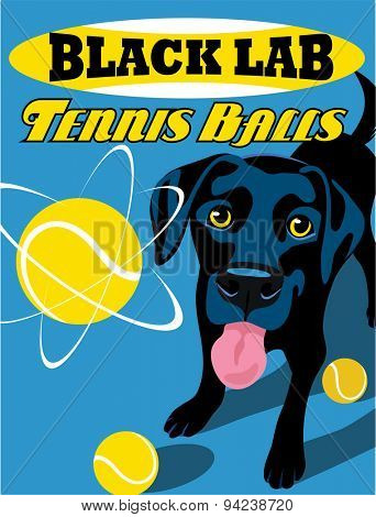 Illustrated poster of a Black Lab dog and fictitious tennis ball brand advertisement