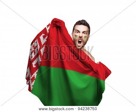 Fan holding the flag of Belarus on white background