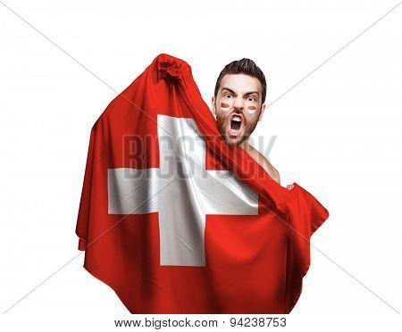 Fan holding the flag of Switzerland on white background