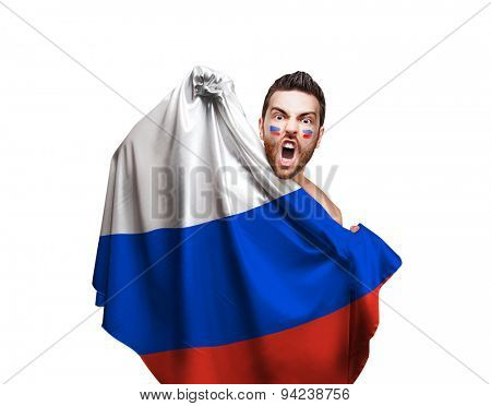 Fan holding the flag of Russia on white background