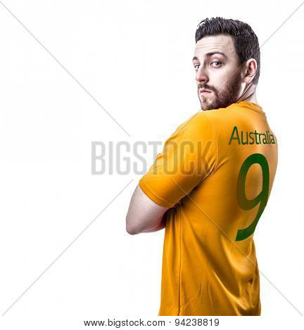 Aussie soccer player on white background