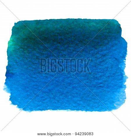 Vector Watercolor Deep Blue Banner Isolated On White