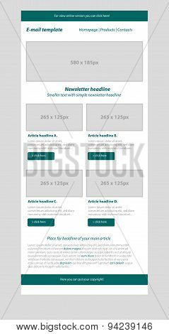 Newsletter Dark Green Template With Business Style