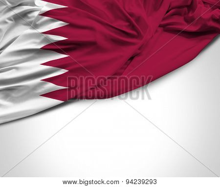 Qatar waving flag on white background
