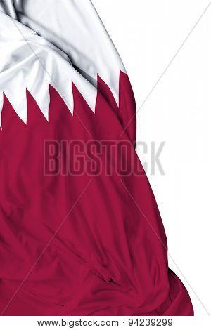 Qatar waving flag on white background