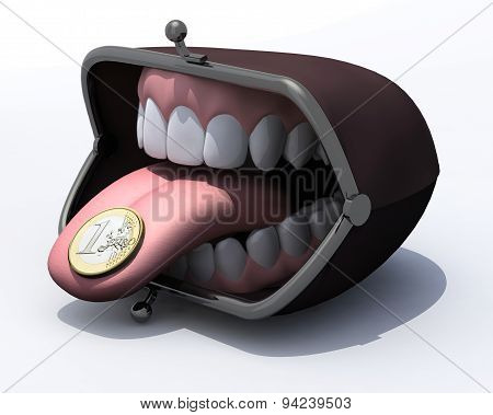 Purse With Open Mouth, Tongue Out And One Euro Coin