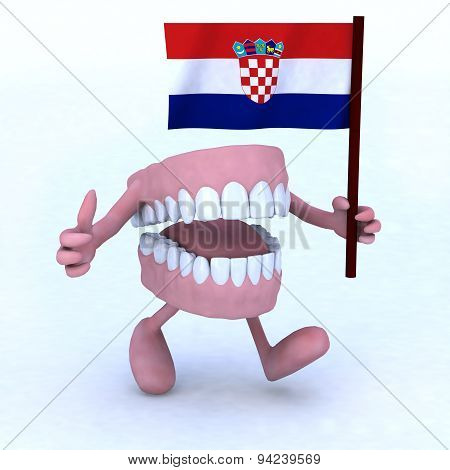 Dentures With Arms And Legs Carrying A Flag Of Croatia