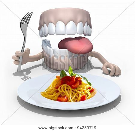 Denture With Hands, Fork In Front Of A Spaghetti Dish