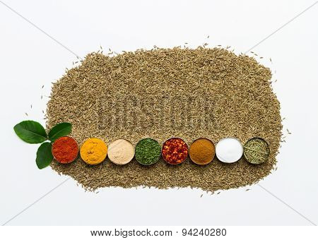 Mixed Spices And Herbs On White Background.