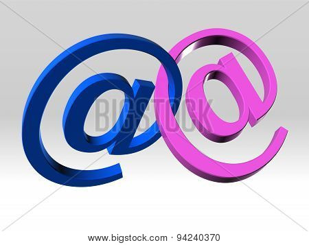Two Email Symbol Linked