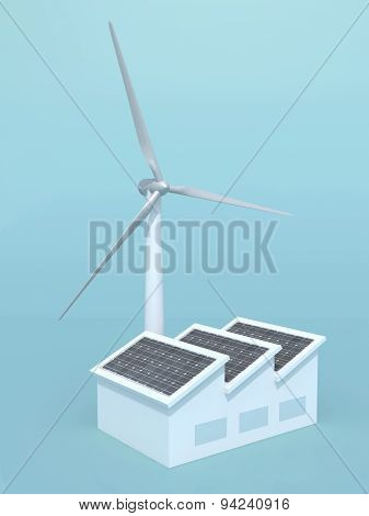Factory With Solar Panels And Wind Turbine Instead Of The Chimney