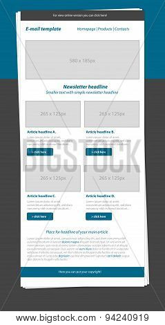 Newsletter Blue Template With Business Style